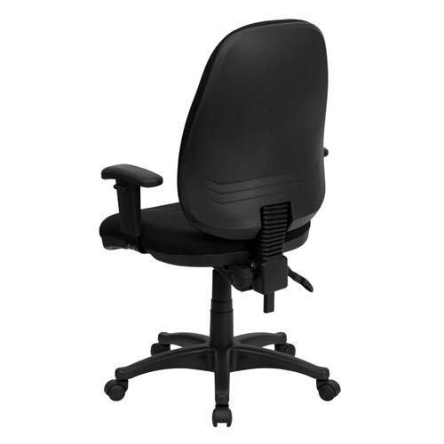 High Back Black Fabric Executive Swivel Chair with Adjustable Arms