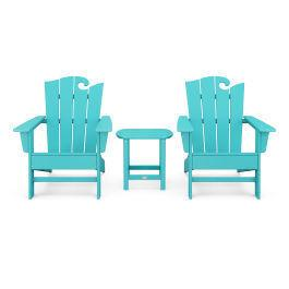 Polywood Furnishings - Wave 3-Piece Adirondack Set with The Ocean Chair in Vintage Aruba