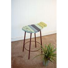 See Details - painted wood and metal fish counter stool