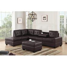 See Details - Albert Reversible Sectional with Drop Down Table and Storage Ottoman, Brown PU