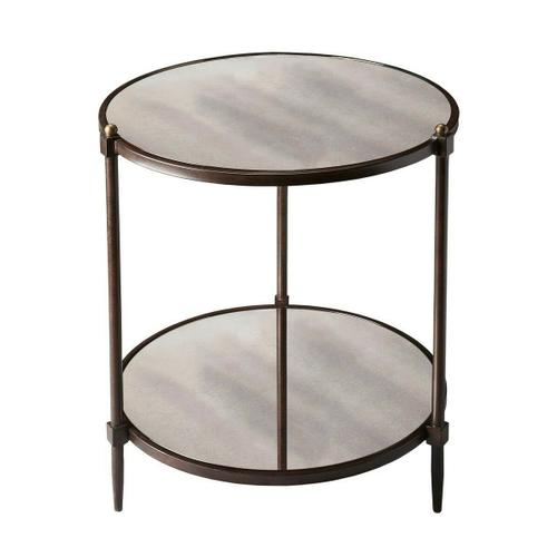 Butler Specialty Company - This transitional side table is a beautiful accent in any space. The all metal frame construction features a pewter finish with gold undertones together with gold knob accents along the top. The antiqued mirror top and lower shelf provide character and distinctive style.