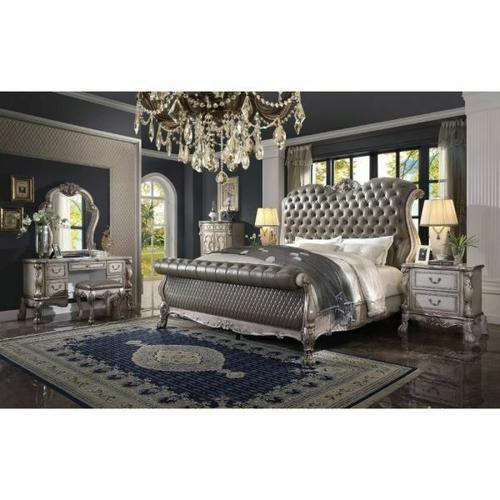 ACME Dresden Queen Bed - 28190Q - Traditional, Vintage - PU, Wood (Aspen), Ply, Poly-Resin - Vintage Bone White and PU