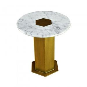 Circa Table Large/White Marble+Iron/Antique Brass Finish/22*22*22