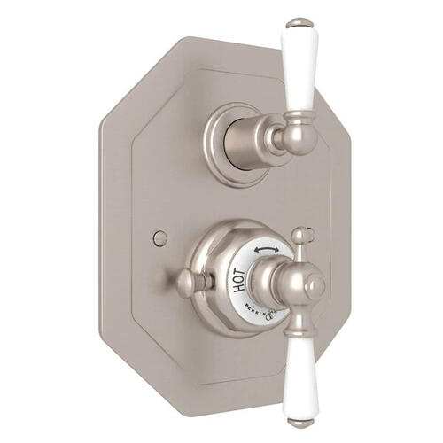 Edwardian Octagonal Concealed Thermostatic Trim with Volume Control - Satin Nickel with Metal Lever Handle
