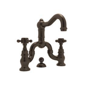 Tuscan Brass Acqui Deck Mount Bridge Lavatory Faucet with Cross Handle