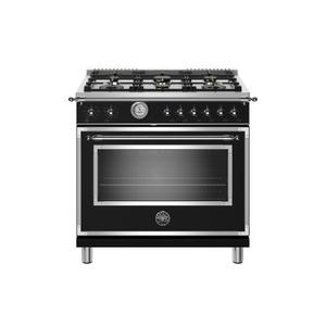 BERTAZZONI36 inch All Gas Range, 6 Brass Burners Nero Matt