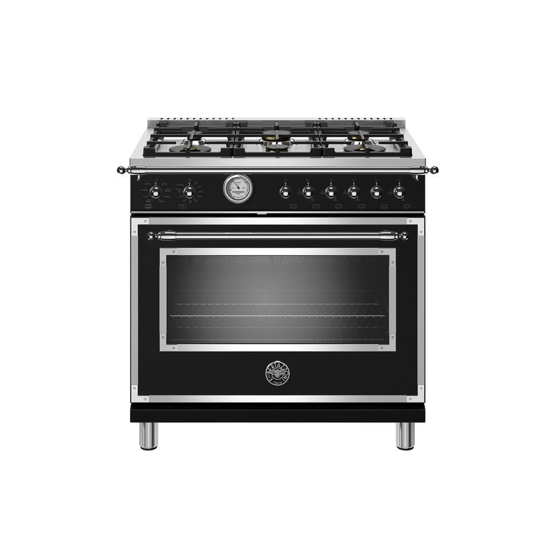 36 inch All Gas Range, 6 Brass Burners Nero Matt