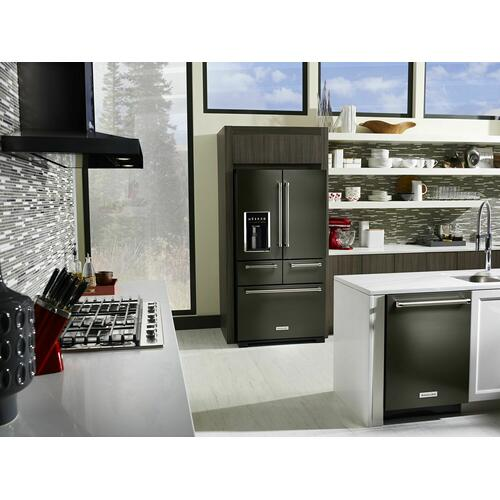 "KitchenAid Black Stainless - 25.8 Cu. Ft. 36"" Multi-Door Freestanding Refrigerator with Platinum Interior Design - Black Stainless Steel with PrintShield™ Finish"
