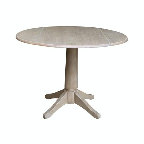 Round Dropleaf Pedestal Table in Taupe Gray