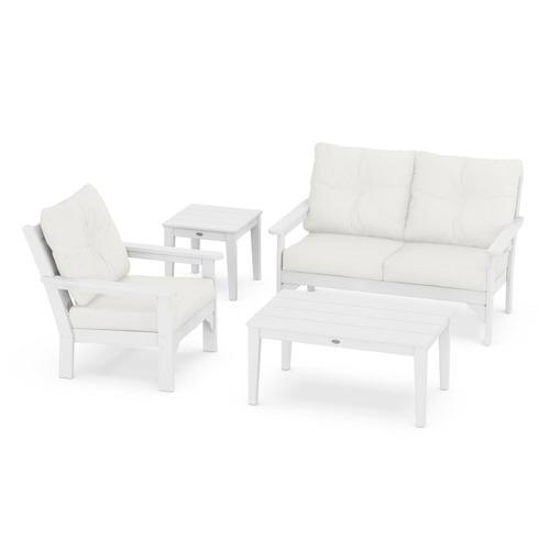 Vineyard 4-Piece Deep Seating Set in White / Natural Linen