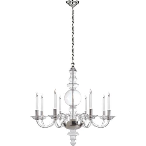 Visual Comfort - E. F. Chapman King George 8 Light 36 inch Crystal with Polished Nickel Chandelier Ceiling Light
