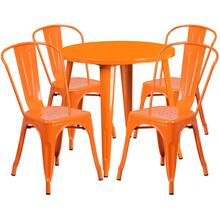 30'' Round Orange Metal Indoor-Outdoor Table Set with 4 Cafe Chairs