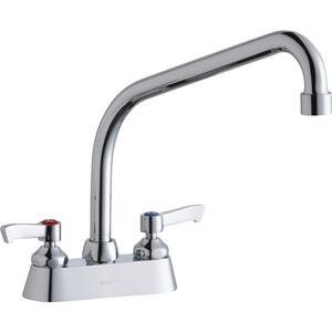 "Elkay 4"" Centerset with Exposed Deck Faucet with 10"" High Arc Spout 2"" Lever Handles Chrome Product Image"