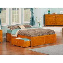 Concord Full Flat Panel Foot Board with 2 Urban Bed Drawers Caramel Latte