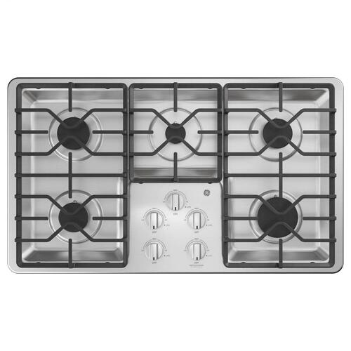 "GE® 36"" Built-In Gas Cooktop with Dishwasher-Safe Grates"