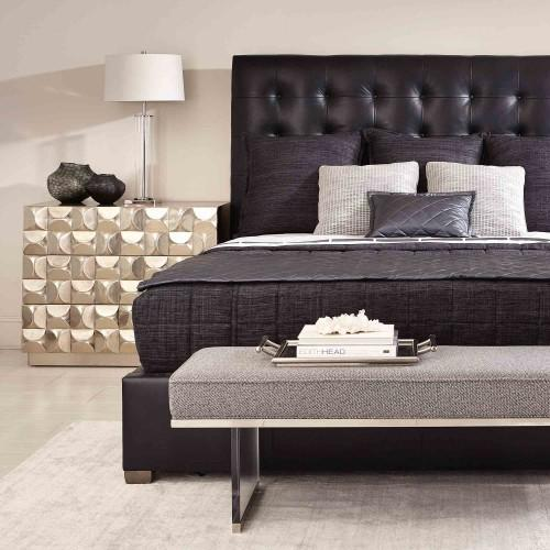 """King-Sized Avery Leather Button-Tufted Bed (66"""" H) in Smoke"""