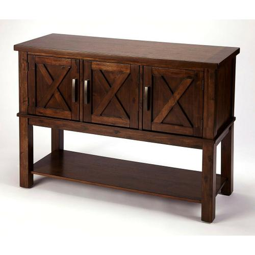 Bring a bit of countryside into you entertaining with this storage buffet. Crafted in Acacia wood and Rich Brown Birch veneers; the exterior door panels are enhanced by the updated X design. Offering you both storage and function in one beautiful addition to your room. The bottom shelf is yours to fill with those special pieces to share with all to view.
