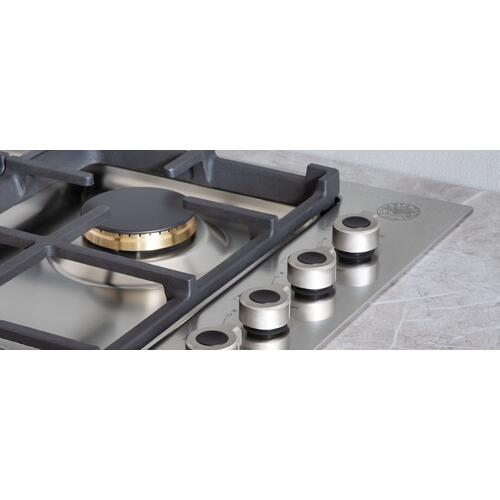 30 Drop-in Gas Cooktop 4 brass burners Stainless Steel