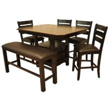 See Details - Walnut Veneer Top Two Tone Dining Set