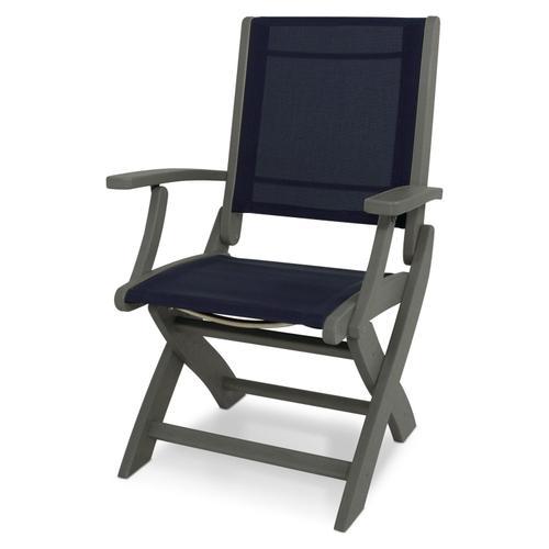 Slate Grey & Navy Blue Coastal Folding Chair