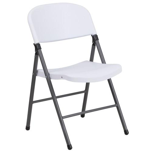 330 lb. Capacity Granite White Plastic Folding Chair with Charcoal Frame