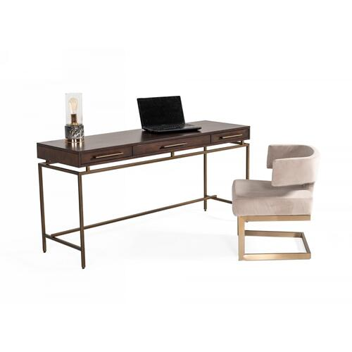 VIG Furniture - Modrest Nathan - Modern Acacia & Brass Desk