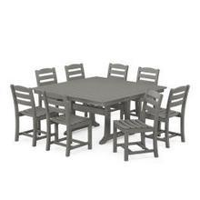 View Product - La Casa Cafu00e9 9-Piece Farmhouse Trestle Dining Set in Slate Grey