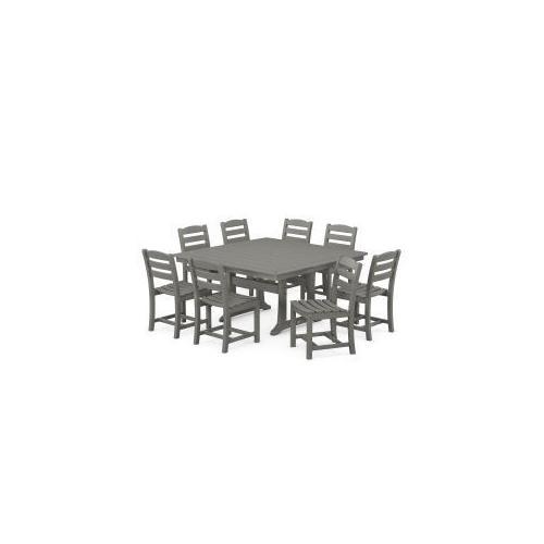 Polywood Furnishings - La Casa Cafu00e9 9-Piece Farmhouse Trestle Dining Set in Slate Grey