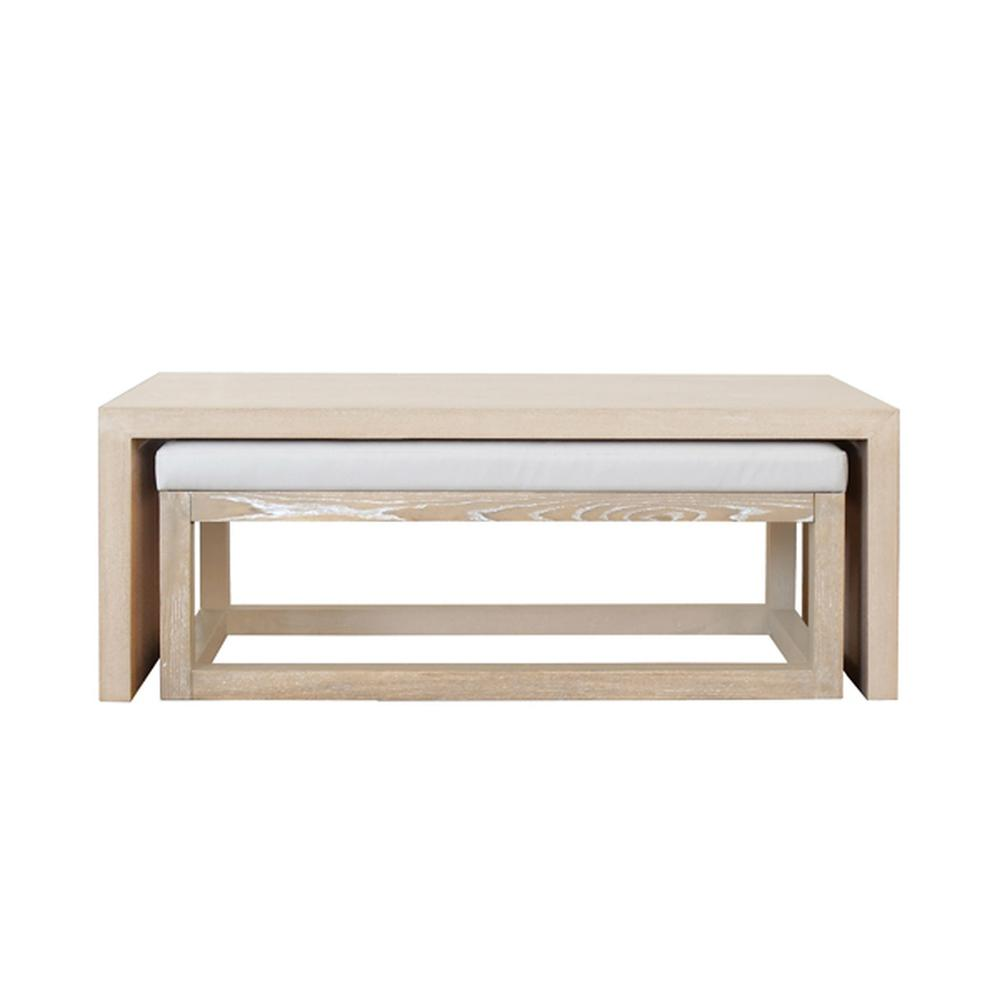 See Details - With Its Classic Waterfall Silhouette, the Kenneth Mid-century Modern, Rectangular Coffee Table With Nesting Bench Proves Yet Again That Less Is More. Clean, Architectural Lines Coupled With Eye-catching Oak Wood Grain Provide the Perfect Canvas for Our Natural Cerused Finish. Simply Gorgeous.