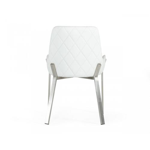 VIG Furniture - Modrest Ganon - Modern White & Brushed Stainless Steel Dining Chair