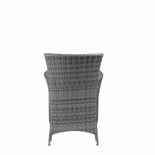 ACME Tashelle 3Pc Patio Bistro Set - 45000 - Gray Fabric & Gray Wicker