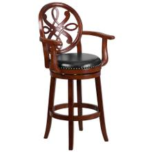 30'' High Cherry Wood Barstool with Arms and Black Leather Swivel Seat