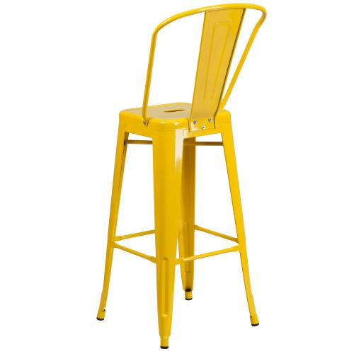30'' High Yellow Metal Indoor-Outdoor Barstool with Back