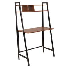 See Details - Cherry Wood Grain Finish Computer Desk with Storage Shelf and Black Metal Frame