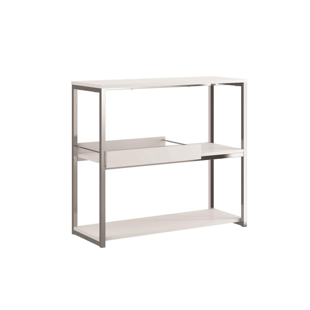 The Noa Bookcase Part Of Our Kd Collection In Matte White With Chromed Metal And Removable Tray.