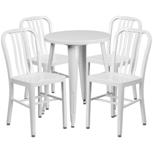 24'' Round White Metal Indoor-Outdoor Table Set with 4 Vertical Slat Back Chairs