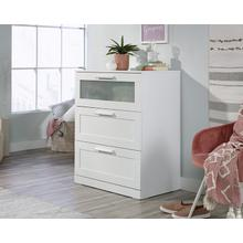 White 3-Drawer Dresser with Glass Panel