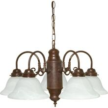 5 Light - Chandelier with Alabaster Glass - Old Bronze Finish