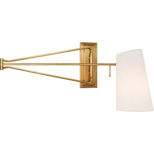 AERIN Keil 51 inch 60 watt Hand-Rubbed Antique Brass Swing Arm Wall Light, Large
