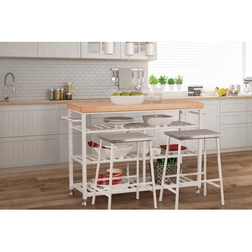 Product Image - Kennon 3 Piece Kitchen Cart Set - Natural Wood Top