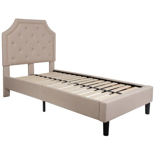 Twin Size Tufted Upholstered Platform Bed in Beige Fabric