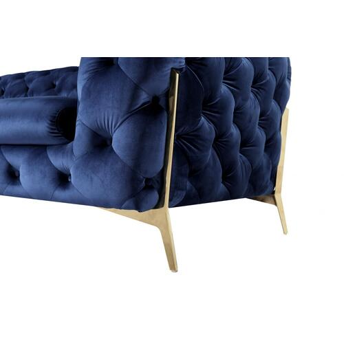 VIG Furniture - Divani Casa Quincey - Transitional Blue Velvet Chair