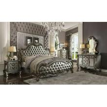ACME Versailles II Queen Bed - 26840Q - Silver PU & Antique Platinum
