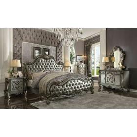 ACME Versailles II Queen Bed - 26840Q - Silver PU & Antique Platinum