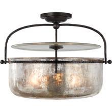 View Product - E. F. Chapman Lorford 3 Light 20 inch Aged Iron Semi-Flush Lantern Ceiling Light, Medium