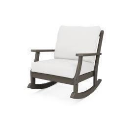 Braxton Deep Seating Rocking Chair in Vintage Coffee / Natural Linen