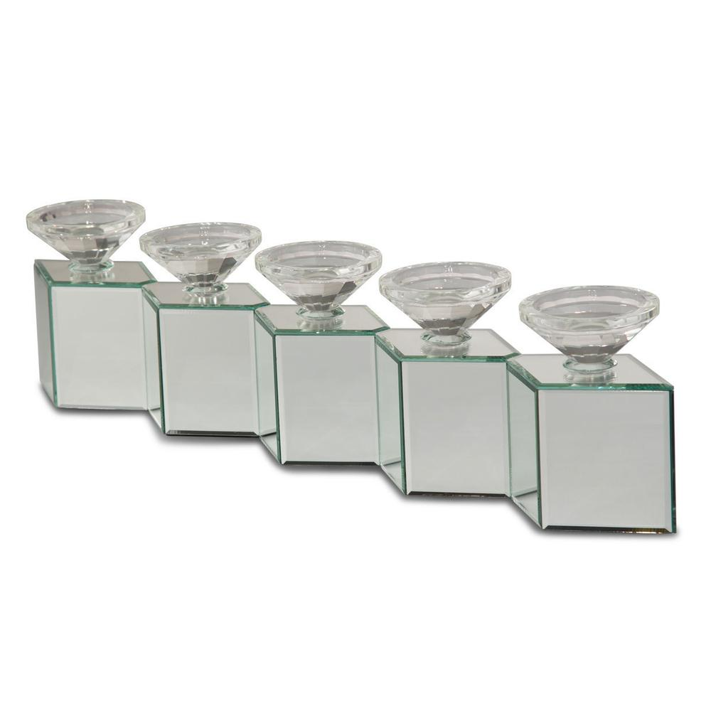See Details - Mirrored Cube Linear Candle Holder 162