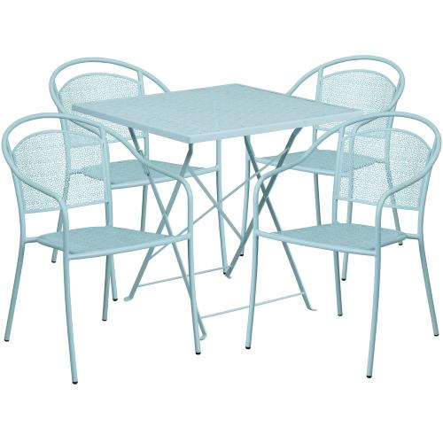 28'' Square Sky Blue Indoor-Outdoor Steel Folding Patio Table Set with 4 Round Back Chairs