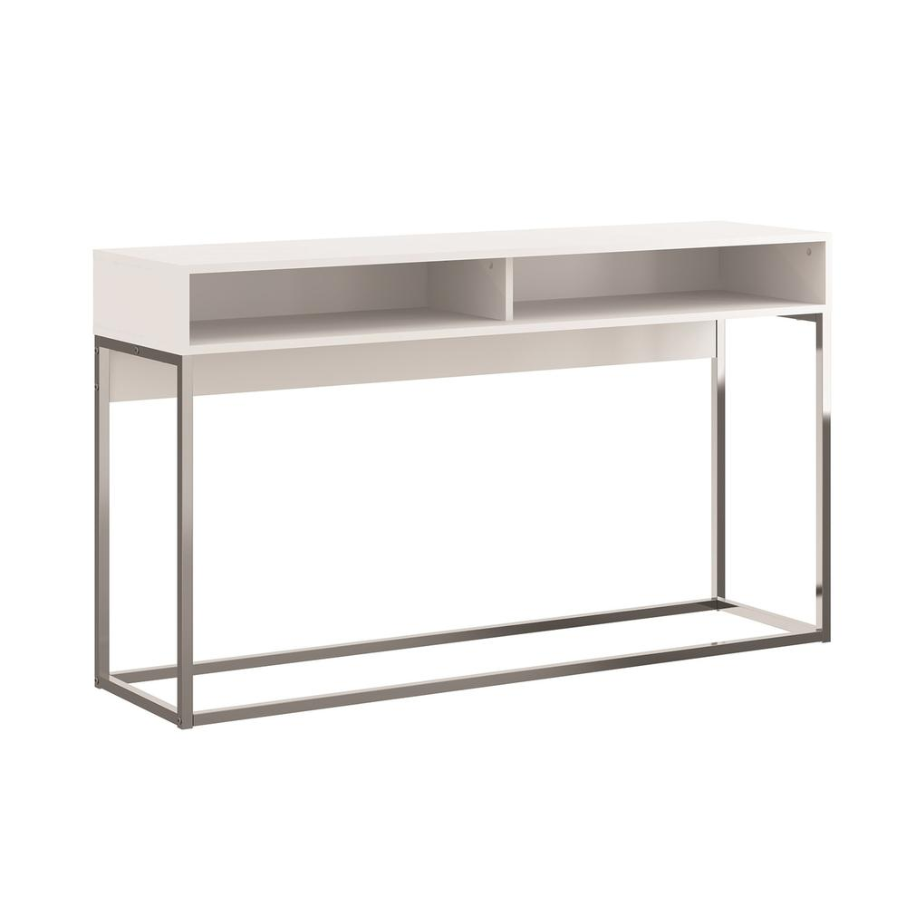 The Noa Console Table Part Of Our Kd Collection In Matte White With Chromed Metal Frame