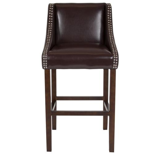"30"" High Transitional Walnut Barstool with Accent Nail Trim in Brown Leather"